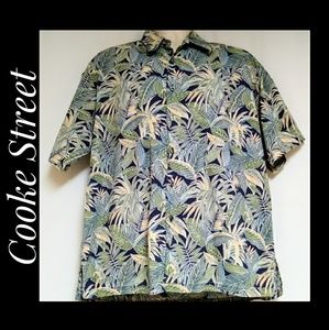Men's Monstera Palm Leaf Hawaiian Shirt Blue Green